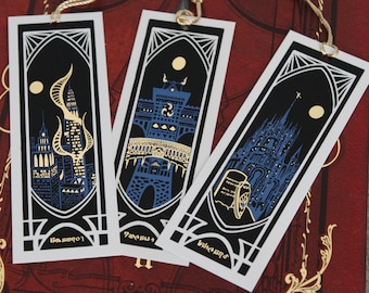 A Journey Through Eorzea - FFXIV Gold Foil Bookmark Set of Ishgard, Kugane and Amaurot