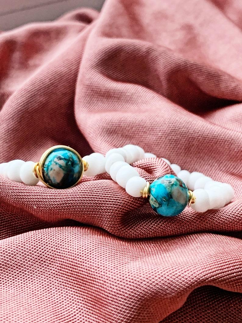 Turquoise white beaded ring