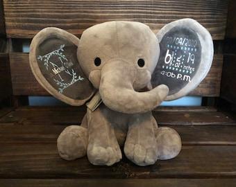 Stuffed Animal Elephant Baby Birth Stats baby stats
