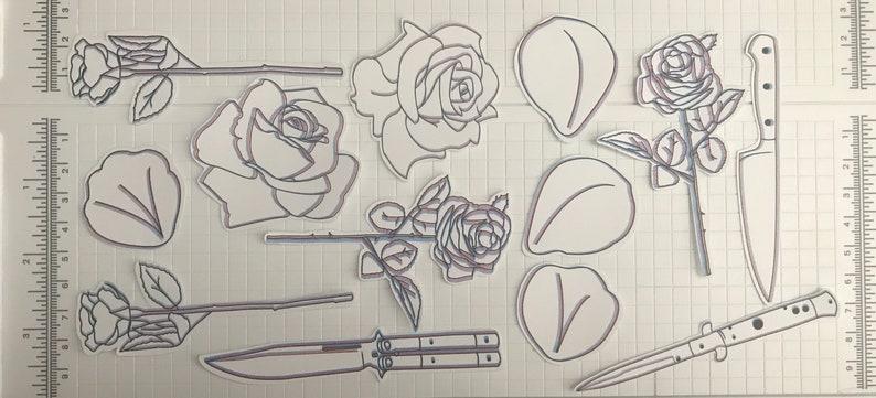 roses 3D effect knife flower petals stickers knives 3D Effect ...