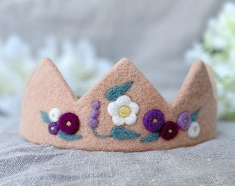 Lilac flower crown for little kids, Blossom diadem for birthday photo, lavender crown with felt flowers, soft gift for girl's 9th birthday