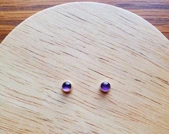 4mm Dainty Amethyst Stud Earrings | Sterling Silver Purple Post Earrings | Silver Amethyst Jewelry | Healing Gemstone | Tiny Amethyst Studs