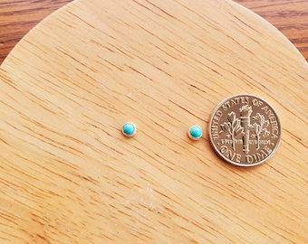 Dainty 3mm Tiny Turquoise Post Earrings | Super Small Sterling Silver Turquoise Stud Earrings | Sterling Silver Studs | Tiny Turquoise Studs