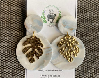 Handmade Clay Earrings with Gold Metal Embellishments