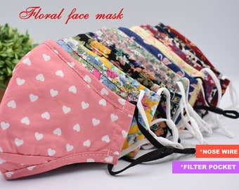 Floral Cotton Face Masks with Nose Wire Filter Pocket  | Adjustable Ear Loops| for Man and Woman| Reusable |