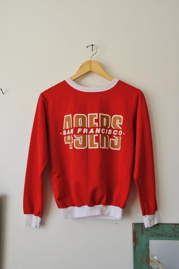 vintage red san francisco 49ers sweater with white