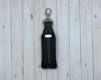 Lip Balm Holder, Chapstick Holder Keychain, Lip Balm Pouch, Keychain, Black