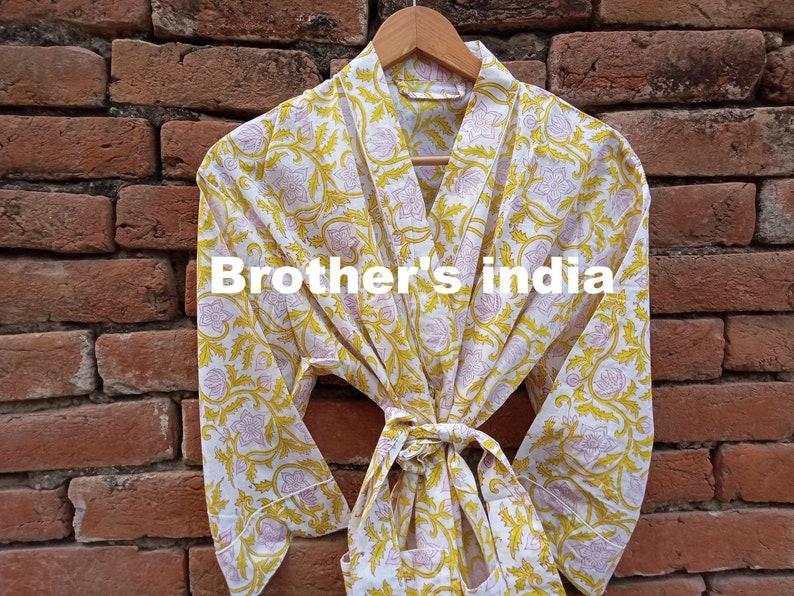 Cotton Print Kimono Handmade Cotton Robe Beach Cover up Bath Night Maxi Dress Lightweight Kimono Maternity Robe Soft and Comfortable Kimono