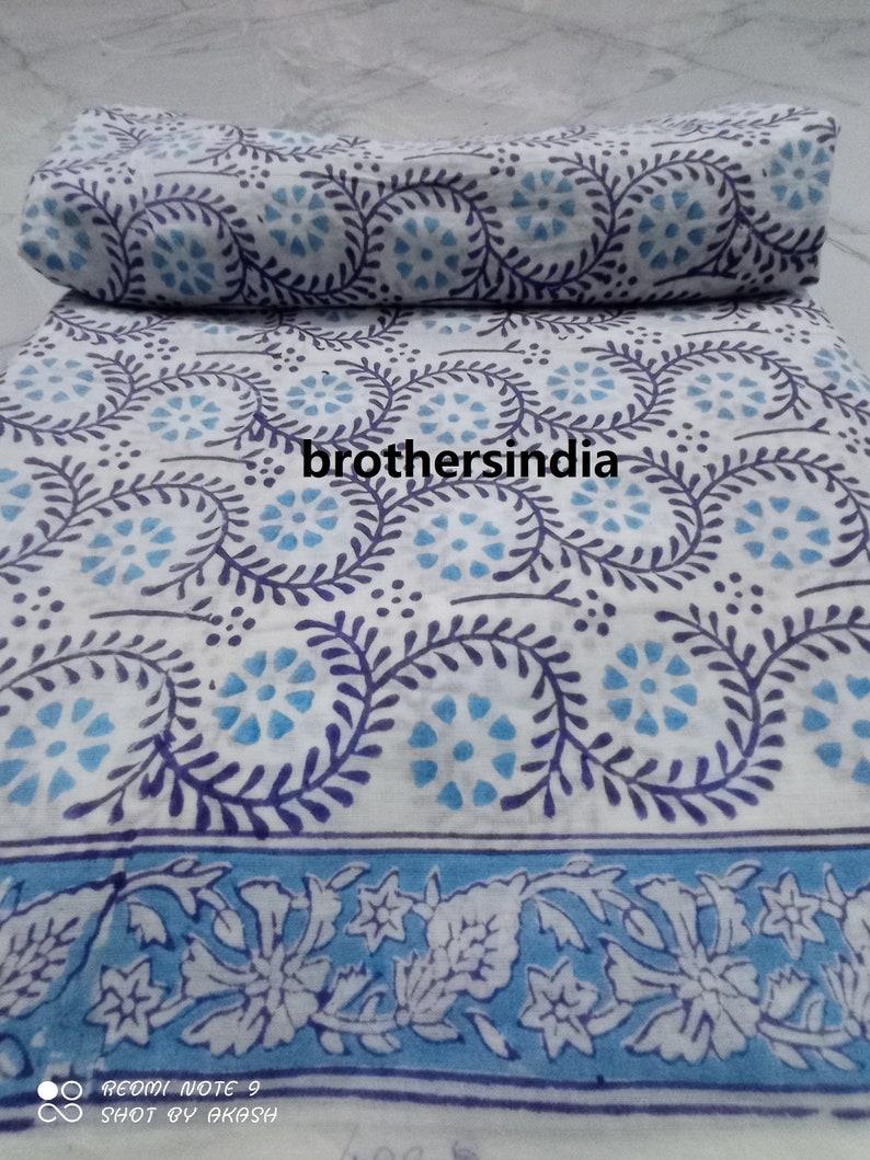 Handmade block printed cotton fabric handblock printed home decor kantha quilt fabric multi yard size