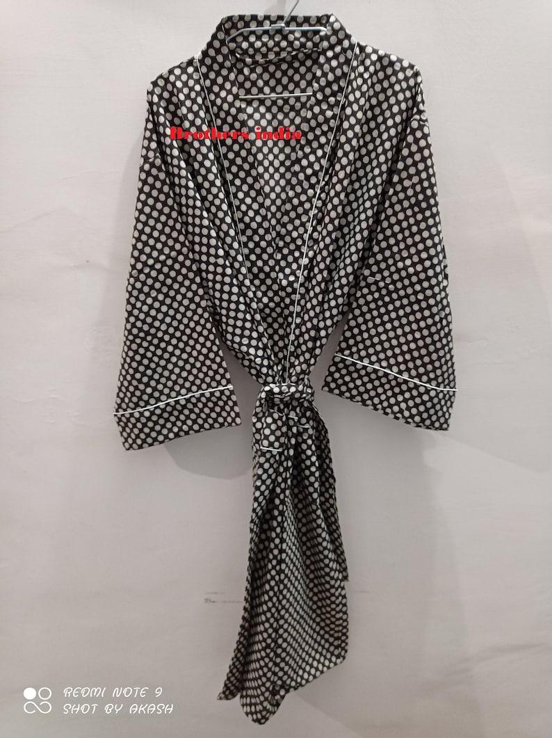 Long Cotton Kimono Handmade Bird print Cover up Bath Robes,Beach Wear Dress Gift for her Wedding Bridal Robe Bridesmaids Sleepwear