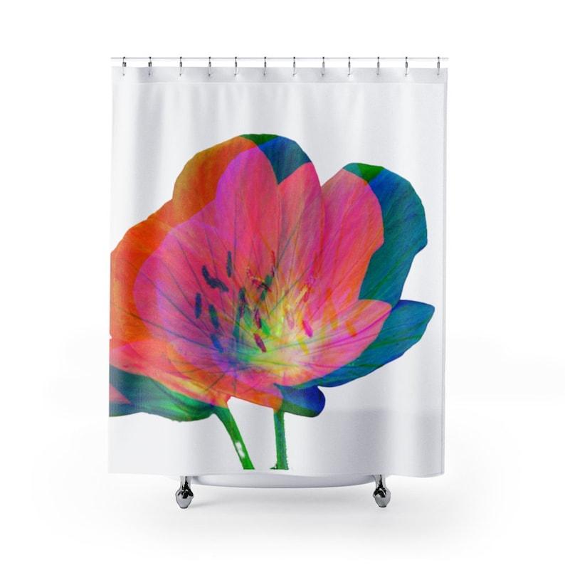 abstract shower flower curtain pink shower curtain Pink floral shower curtain best seller pink shower curtain art curtain bathroom
