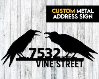 Raven / Crow Metal Address Sign - Custom Address Sign -  Crow Lover Gift