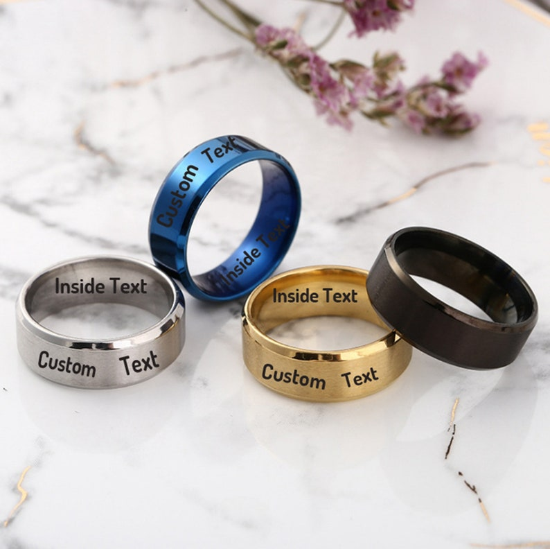 Custom Titanium Ring,Titanium Steel Band Ring,Men Promise Ring Personalized Ring,Promise Ring for Woman,Her,Engrave Band Couple Ring Gift