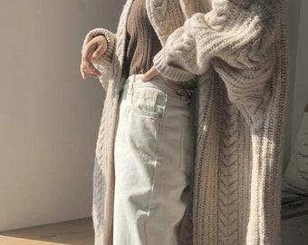 Winter Long soft and warm cardigan Cream white