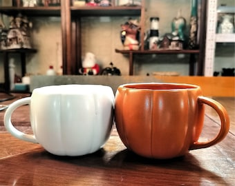 Pumpkin Mug Orange White,Shape Of A Pumpkin,Handmade Pottery Cups,Pumpkin Ceramic Mug,Pumpkin Lover,Fall Decor,Halloween Mug,Halloween,400ml
