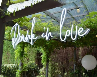 Drunk In Love Wedding Decor LED Neon Sign, Personalized Home Decor,Engagement Decor Neon Sign