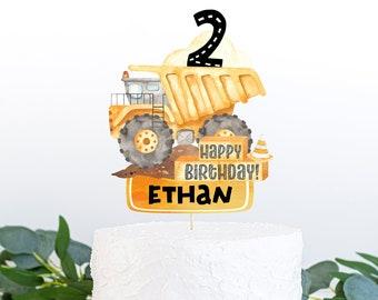 EDITABLE Construction cake topper, Construction birthday decorations, Construction Centerpiece, Dump truck party decor - 07A