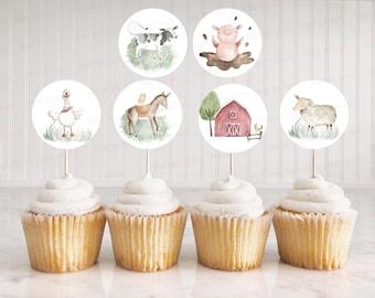 Farm cupcake toppers, Farm birthday party decorations, Farm animals baby shower decorations, Barnyard birthday decor - 11B
