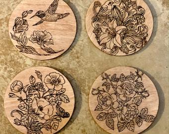 wood burned coasters coaster set Woodburned Coasters Woodland Coasters set of 3 drink coasters wood coasters