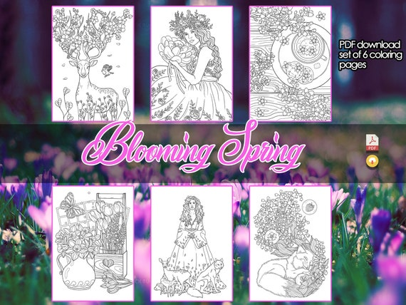 Blooming Spring  Coloring for Adults  PDF  6 Coloring Pages