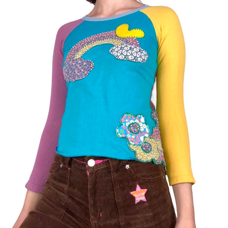 vintage 90s Japanese brand Muchacha patchwork earthy top