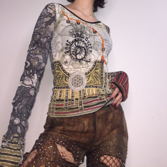 vintage Save the Queen pattern mesh long sleeve to