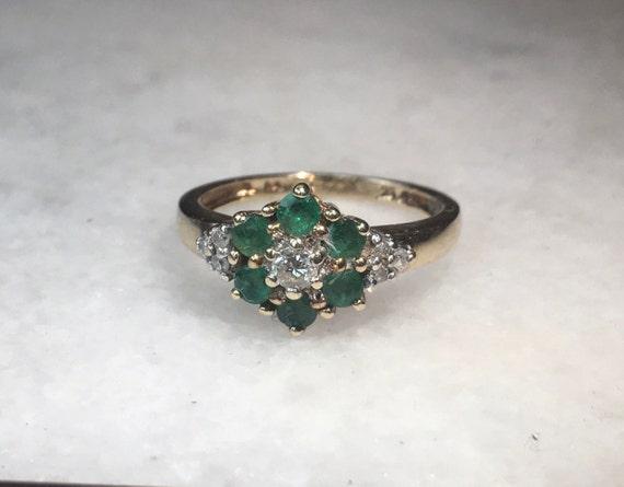 Vintage Emerald and Diamond Daisy 1980's