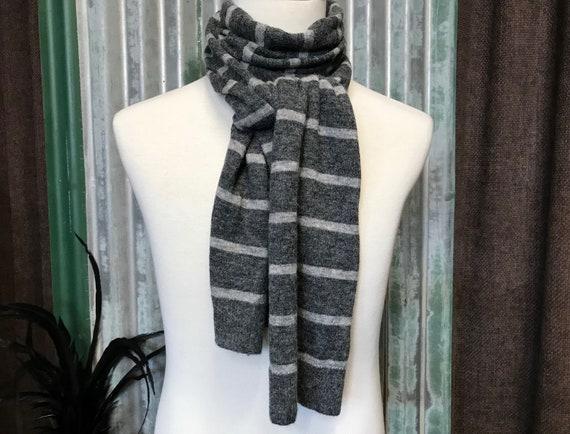 Scarf Long Stripey Wool Grey - Never Worn - OOAK