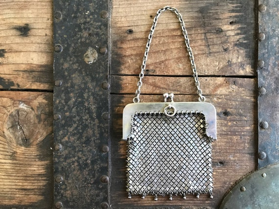 Silver Chain Mail Purse Antique 1930's - OOAK