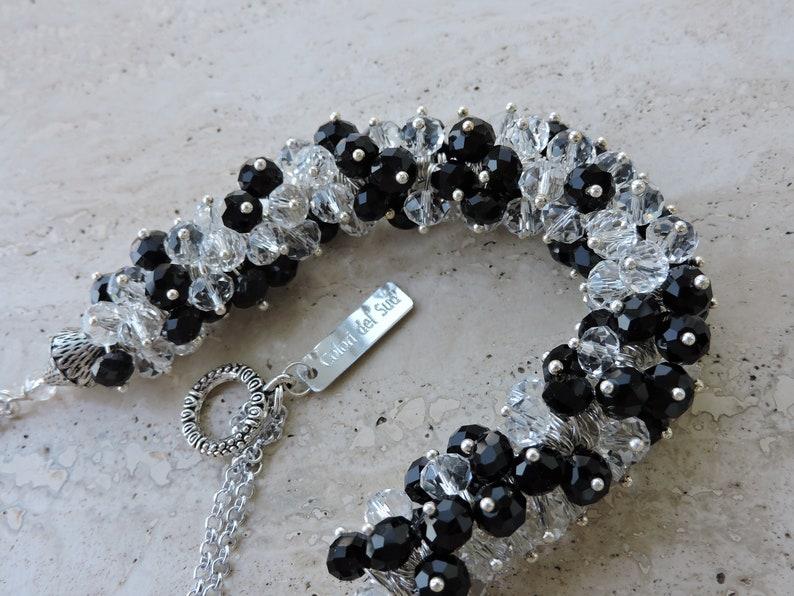 black and white tones Crystals semi-chocker