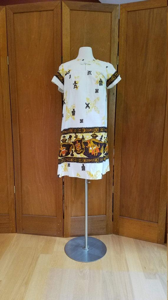 Hawaiian Barkcloth Dress