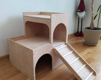 RABBIT 3tier hop up House Castle Shelter Hideout Hideaway Hutch small animal exercise playhouse toy