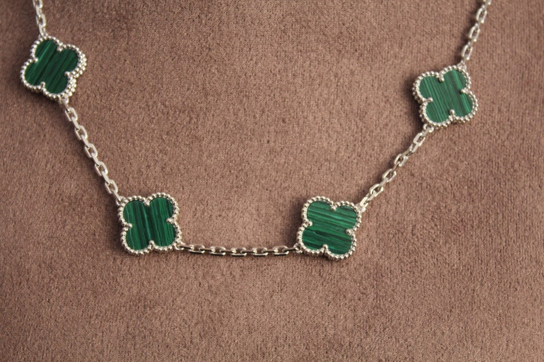 Malachite 10 clover necklace 925 silver 18 K gold plated four leaf clover necklace