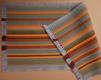 Swedish Vintage Woolen Bedside Rug; 32 1/4''x16''; Handmade Tapestry with Fringes; Colored Striped Carpet; Scandinavian Home Textile; Unused