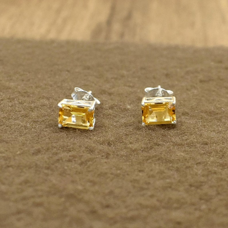 Citrine Cut Stone Stud Prong Setting Stud Wedding Gift 925 Sterling Silver Earring Small Stud Post Earring Yellow Citrine Stud Earring