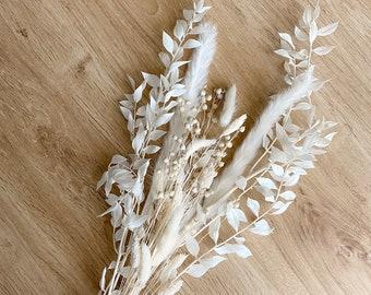 DIY-White-Dream Bouquet I Dried Flowers I PampasGrass I Ruskus I Lagurus I Flax I Phalaris
