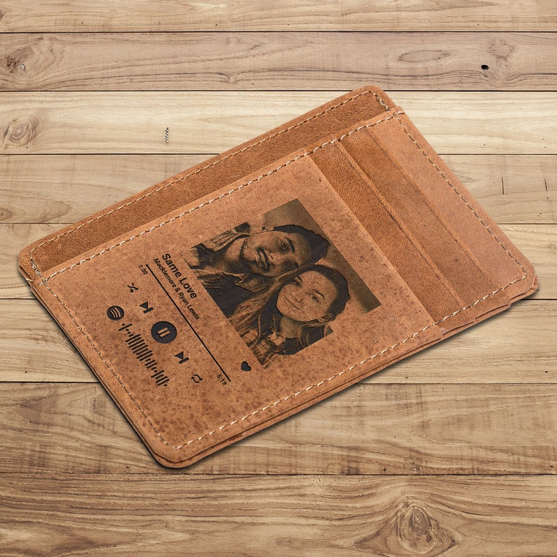Valentines gifts Leather Wallet Personalised Gifts Gift for him personalized photo Wallets Spotify cutsom wallet Photo personalised