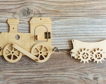 Busy board parts, Locomotive with trailer, Busy board, Busy board details, DIY toy, Busy board elements, Craft kit, Busy board pieces