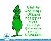 Grinch Font SVG,Grinch Otf Grinch Clipart,Grinch Alphabet,Grinch Cricut,Silhouette,Grinched Christmas Gift,Alphabet Svg