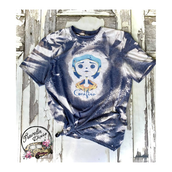 Coraline Bleached Graphic Tee Shirt Women S Tshirt Etsy