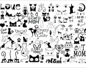Cat Bundle SVG,cat svg,kitty svg,Cute Cat SVG files for Cricut,cat head,cat face,mom mama cat svg,Funny Cats,Cat Silhouette, crazy cat love