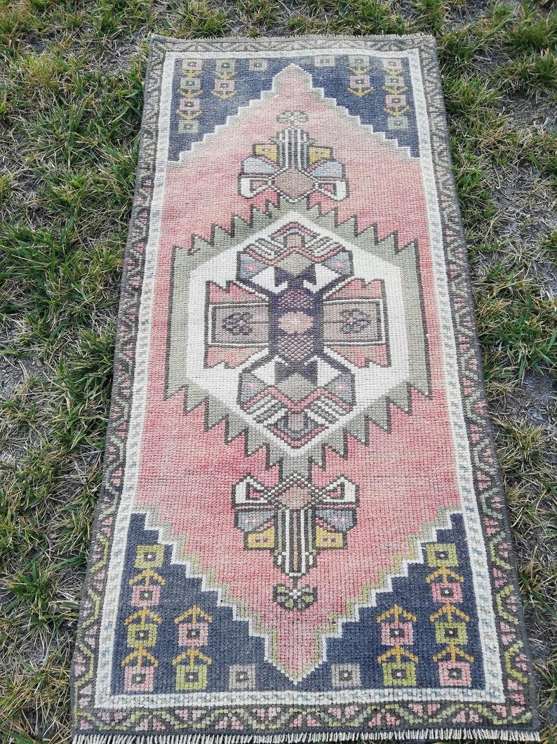 Handmade Rug Turkish Rug Pillow Rug Small Rug Wool Rug Vintage Rug Doormat Rug 3.57 x 1.73 ft Free Shipping welcome doormat rug,