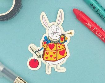 White Rabbit Glossy Vinyl Sticker - Alice in Wonderland - Rabbit Sticker