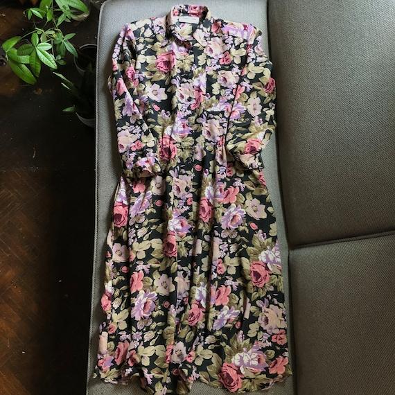 Vintage Bold Floral Shirtdress