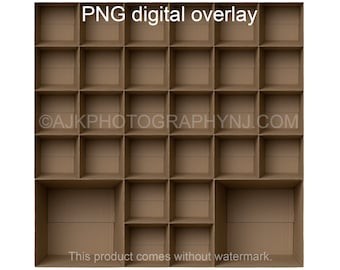 30 empty cardboard boxes template, 28 students and 2 teachers, class photo template, PNG Digital Overlay