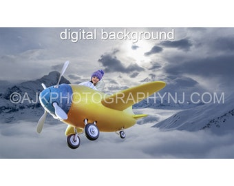 Airplane digital backdrop, yellow airplane flying over mountains digital background