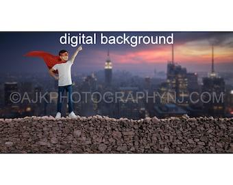Superhero digital background, stone wall overlooking city, digital backdrop
