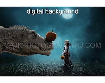 Halloween digital background, T-Rex dinosaur with pumpkin on it's nose, digital backdrop