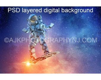Astronaut digital background, astronaut flying on a rocket skateboard through outer space, digital backdrop