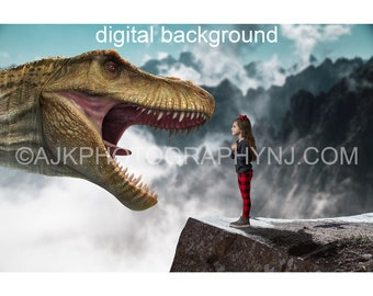 dinosaur digital backdrop, T-Rex by edge of cliff, mountains, Tyrannosaurus Rex, digital background